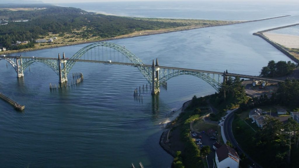 Aerial view of St Johns bridge and the Willamette River