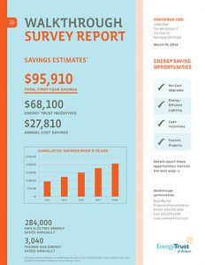 Thumbnail example of a walkthrough survey report