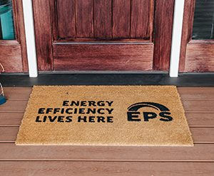 a doormat reading Energy Efficiency lives here