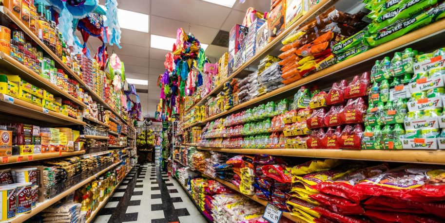 a colorful grocery store aisle