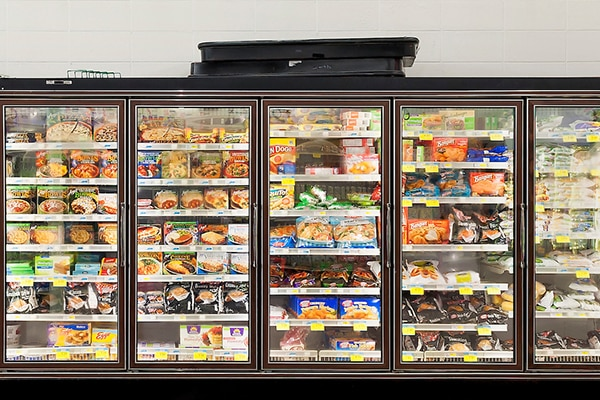 a refrigerated grocery aisle